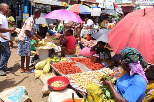 Vendors sell their goods in Monrovia's Duala Market
